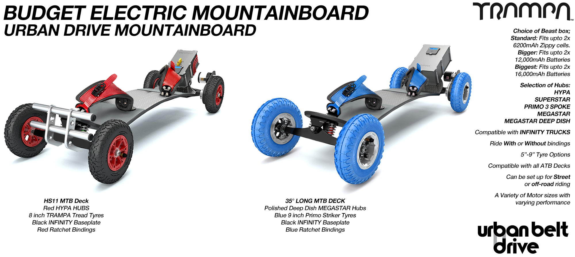 URBAN Electric Mountainboard - Urban Motor Mounts on custom TRAMPA deck ATB Trucks custom 8 inch Wheels Single VESC - NO Battery Box & NO BINDINGS