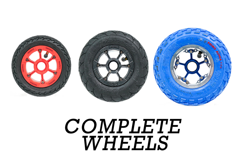 TRAMPA wheels come in a variety of sizes 5, 6, 7, 8 & 9 Inch. Using Trampa Bearings & Reducer sleeves TRAMPA wheels will fit onto 9.525mm, 10mm & 12mm Axles.