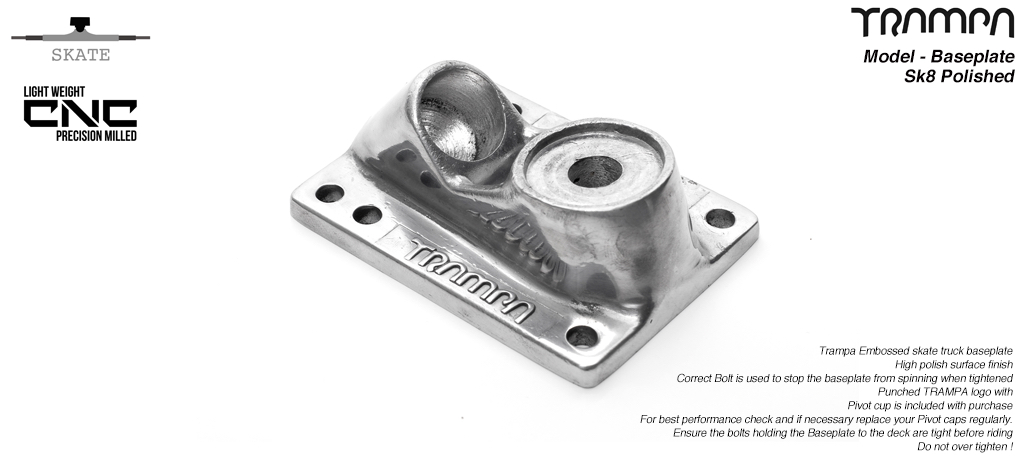Skate Truck Baseplate - Trampa embossed, high quality Bead Polished - LAQUERED