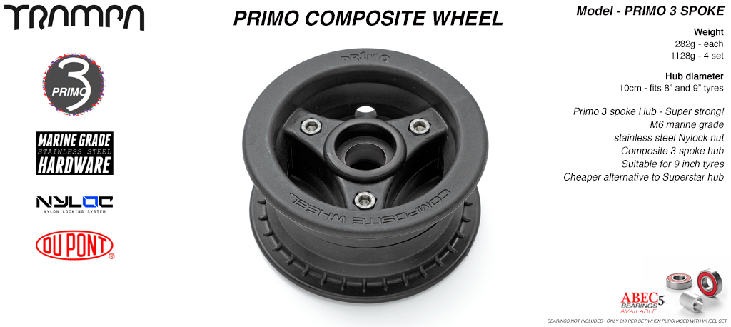 PRIMO 3 Spoke Composite Hub 3.75/4x 2.5 Inch - Perfect for 9 inch tyres