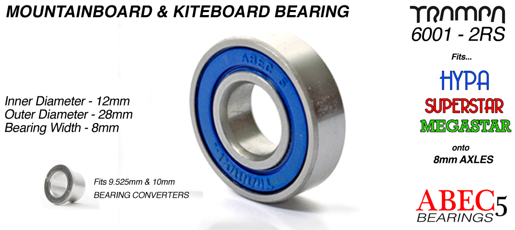 All Terrain Board Bearings (12 x 28 x 8mm) BLUE sidewalls with Embossed Logo ABEC 5 6001 2RS