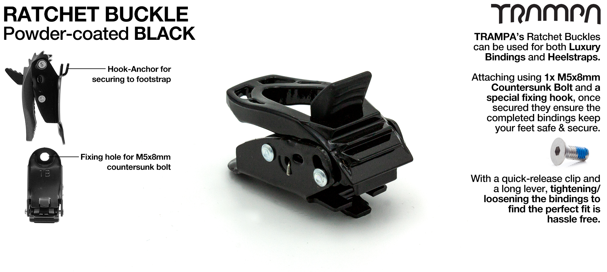 Ratchet Buckle Powder coated Black