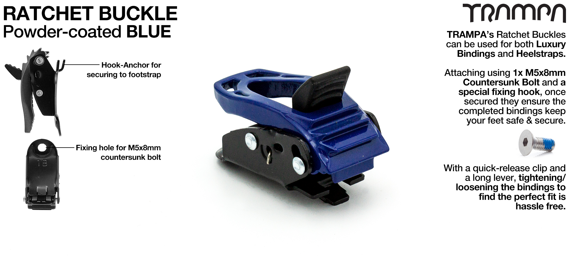 Ratchet Buckle Powder coated Blue