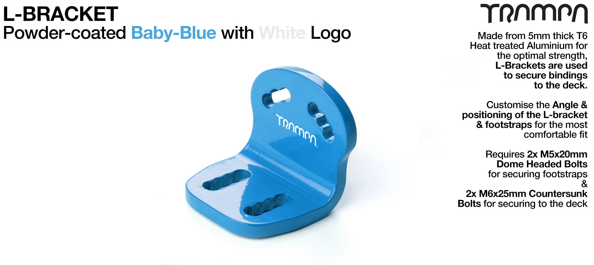 L Bracket - Powder-Coated Baby BLUE with WHITE logo