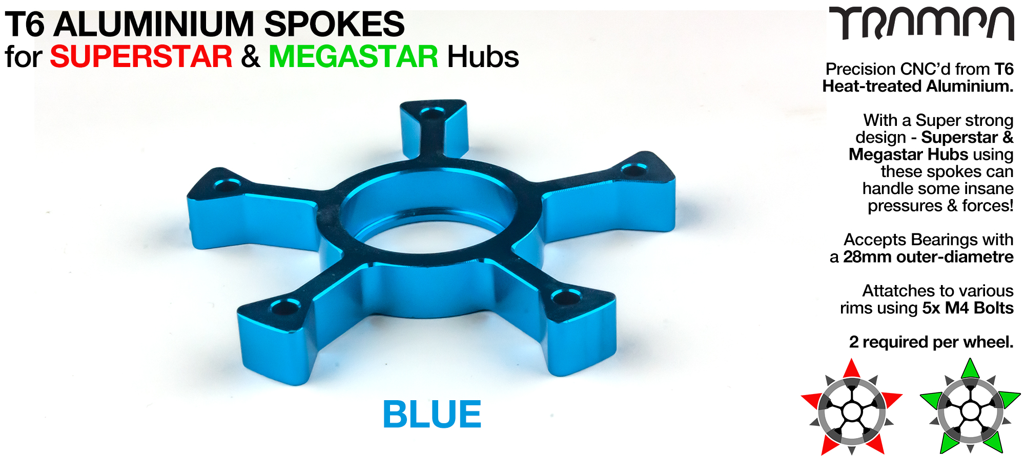 BLUE Anodised Superstar Spoke - Extruded T6 Aluminum Heat treated & CNC Precision milled