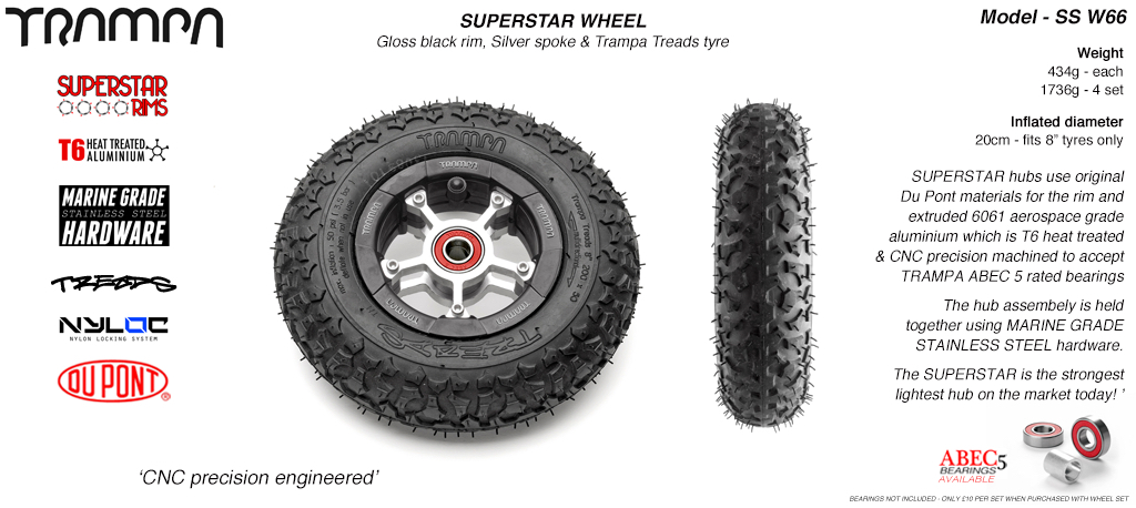Superstar 8 inch wheel - Black Gloss Rim with Silver Anodised spokes & TRAMPA TREAD 8 Inch Tyres