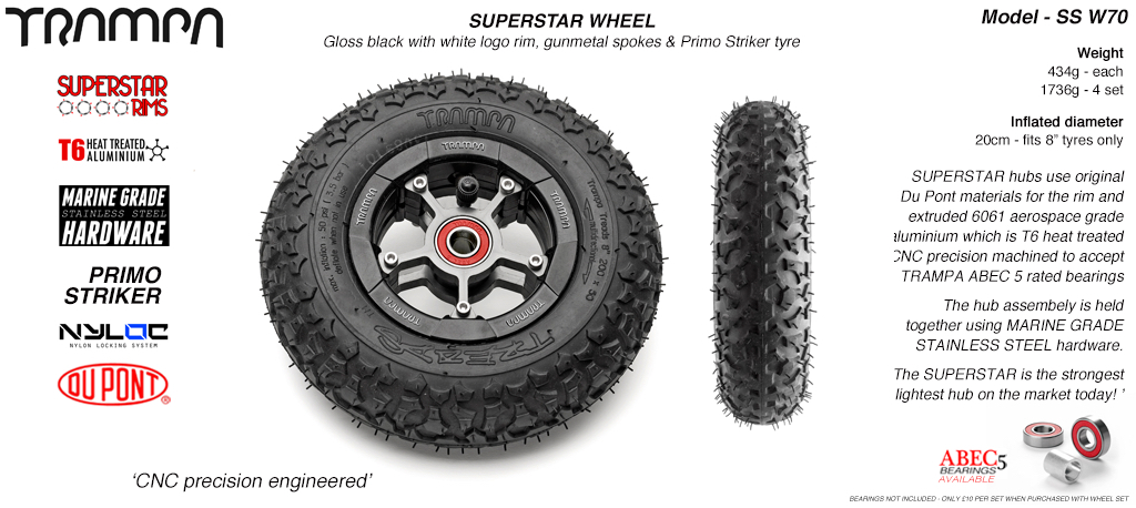 Superstar 8 inch wheel - Black Gloss Rim with Gunmetal Anodised spokes & TRAMPA TREAD 8 Inch Tyres