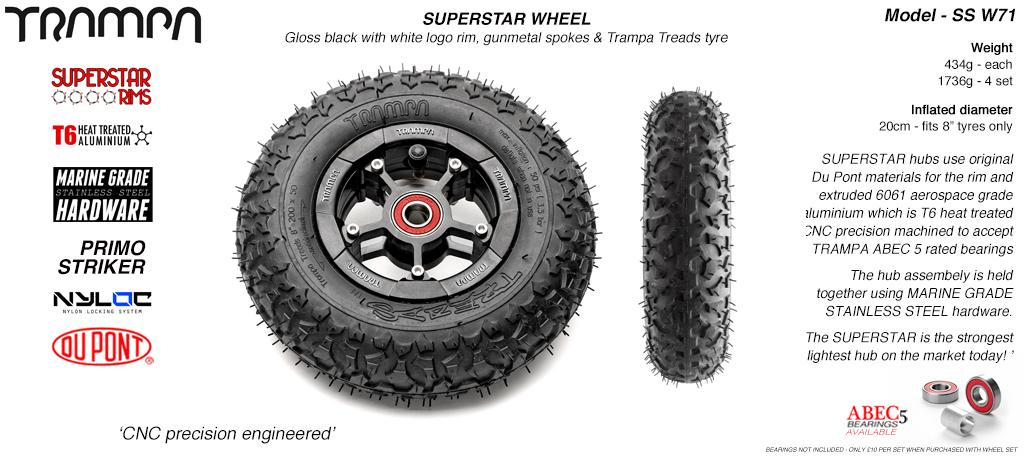 Superstar 8 inch wheel - Black Gloss Rim with Black Anodised spokes & TRAMPA TREAD 8 Inch Tyre
