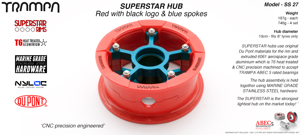 Superstar Hub - Red Gloss & Black logo Rim with Blue anodized spokes