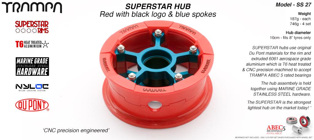 Superstar Hub - Red Gloss & Black logo Rim with Blue anodized spokes