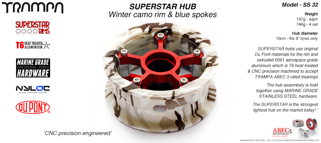 Superstar Hub - Winter Camo Rim with Red anodised spokes