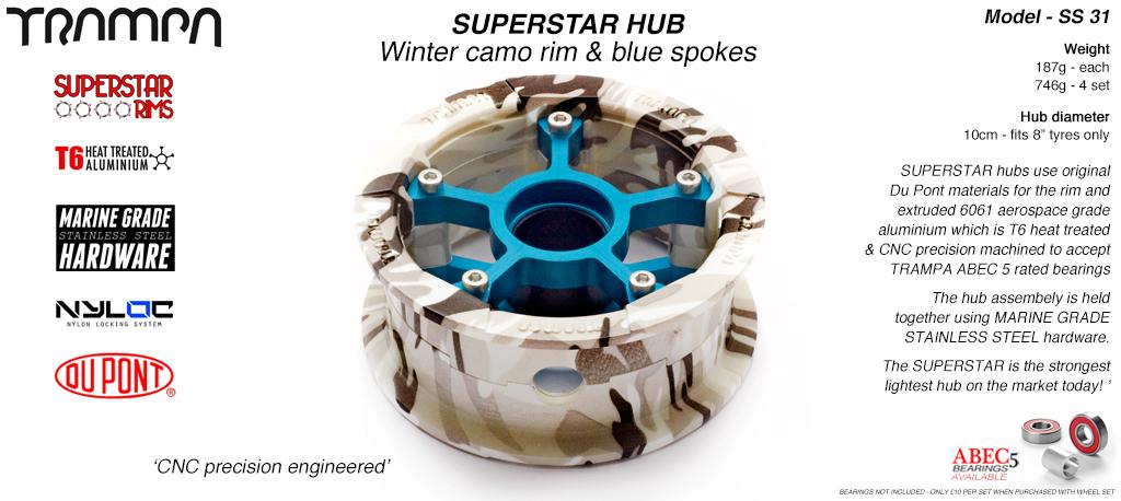 Superstar Hub - Winter Camo Rim with Blue anodised spokes