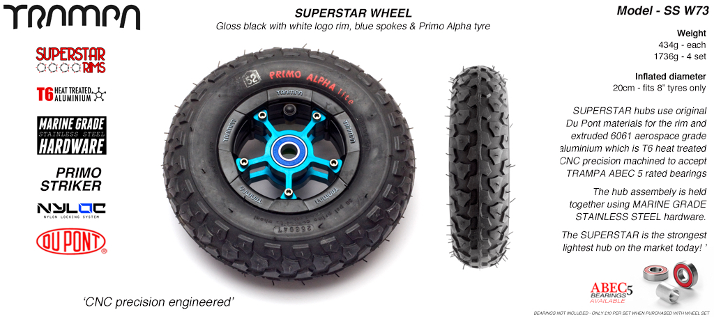 Superstar 8 inch wheel - Black Gloss Rim with Blue Anodised spokes & Black Alpha 8 Inch Tyre