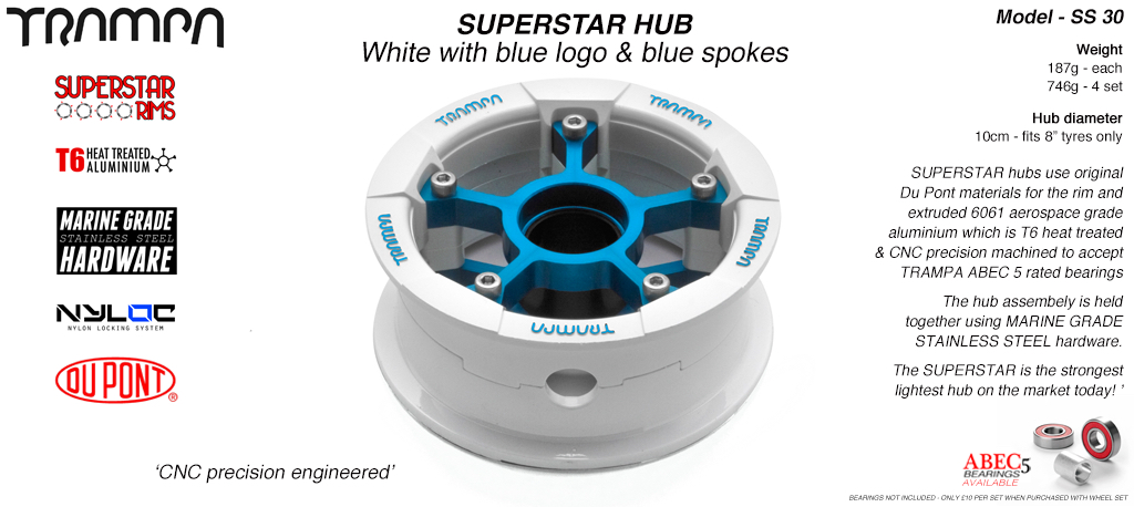 Superstar Hub - White Gloss & Blue logo Rim with Blue annodized spokes
