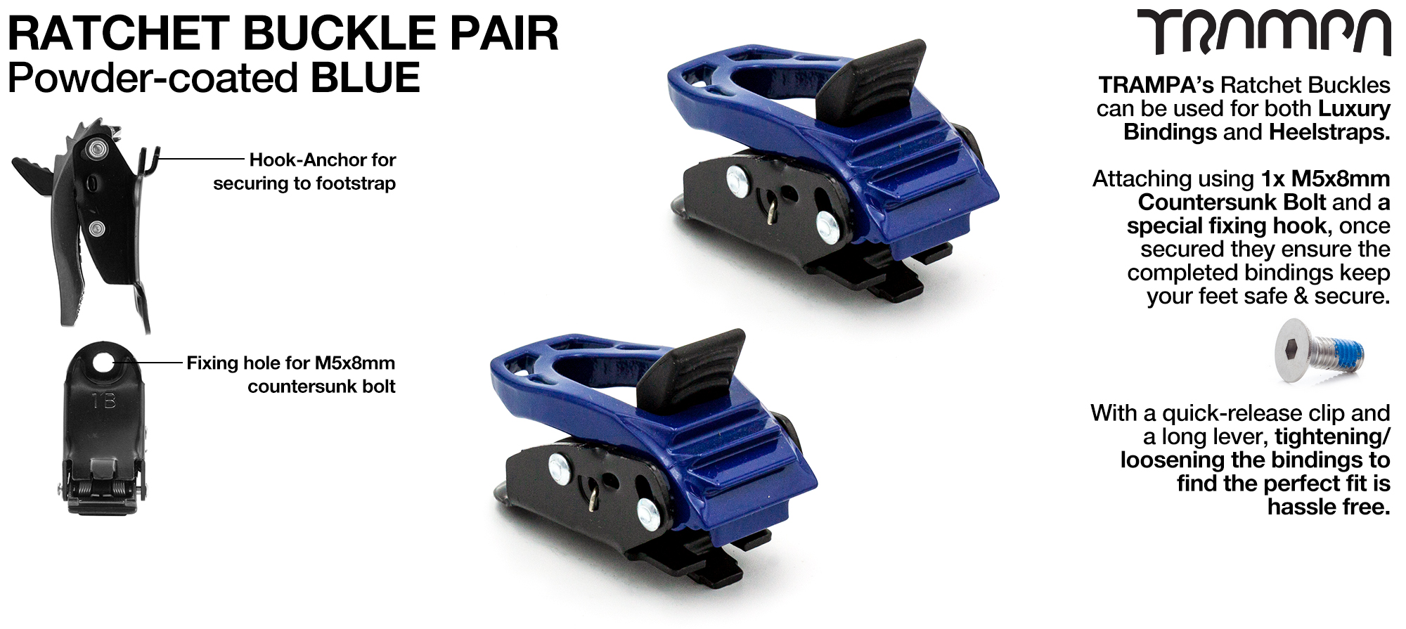 Blue Powder Coated Ratchet Buckles x 2