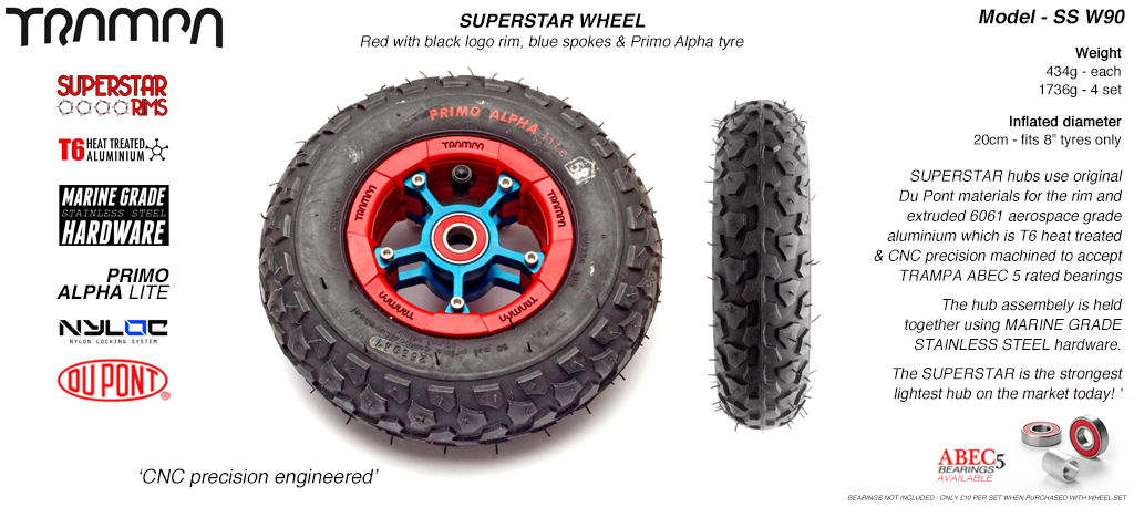 Superstar 8 inch wheel - Red Gloss & Black logo rim Blue Anodised Spokes & Black Alpha 8 Inch Tyre