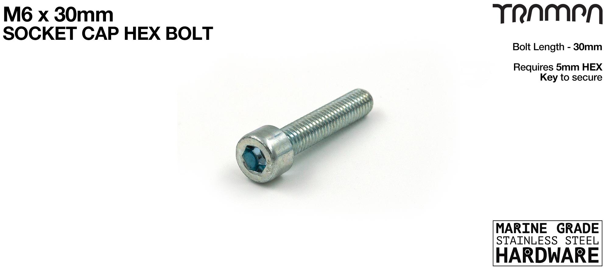 M6 x 30mm Socket Capped Bolt for primo hub - Marine Grade Stainless steel