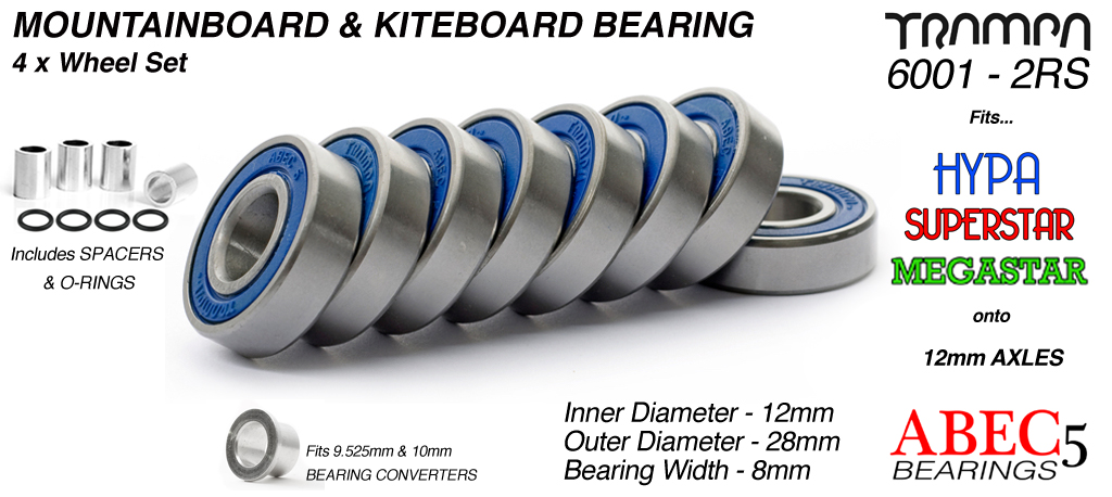 12mm Bearings - 12mm x 28mm axle ABEC 5 rated BLUE Rubber Sealed Sidewalls x4 Wheels