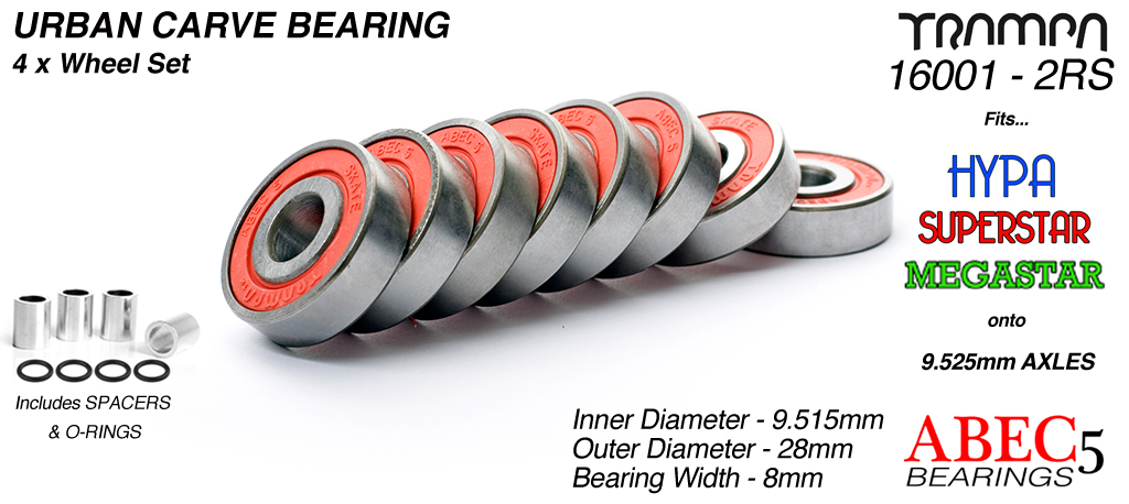 9.525mm Bearings - 9.525mm x 28mm (3/8ths UNC imperial) axle ABEC 5 rated RED x 8