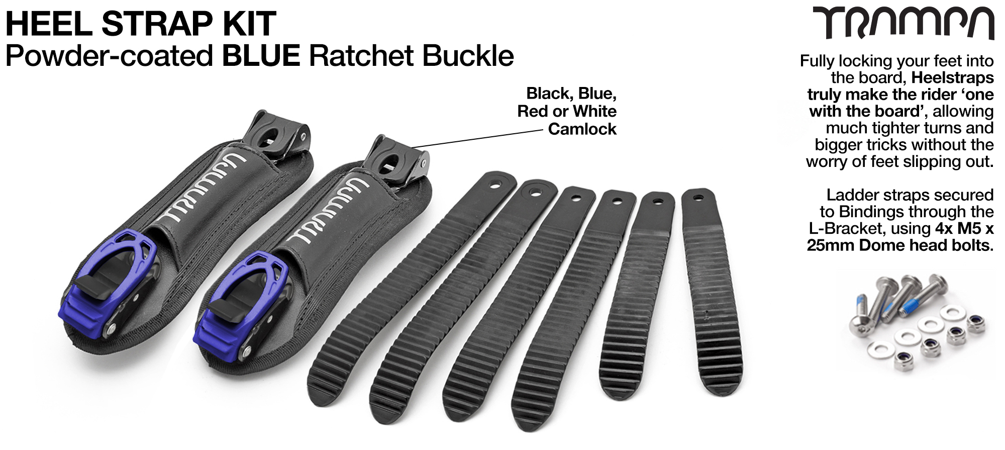 Heel Straps with BLUE Ratchets