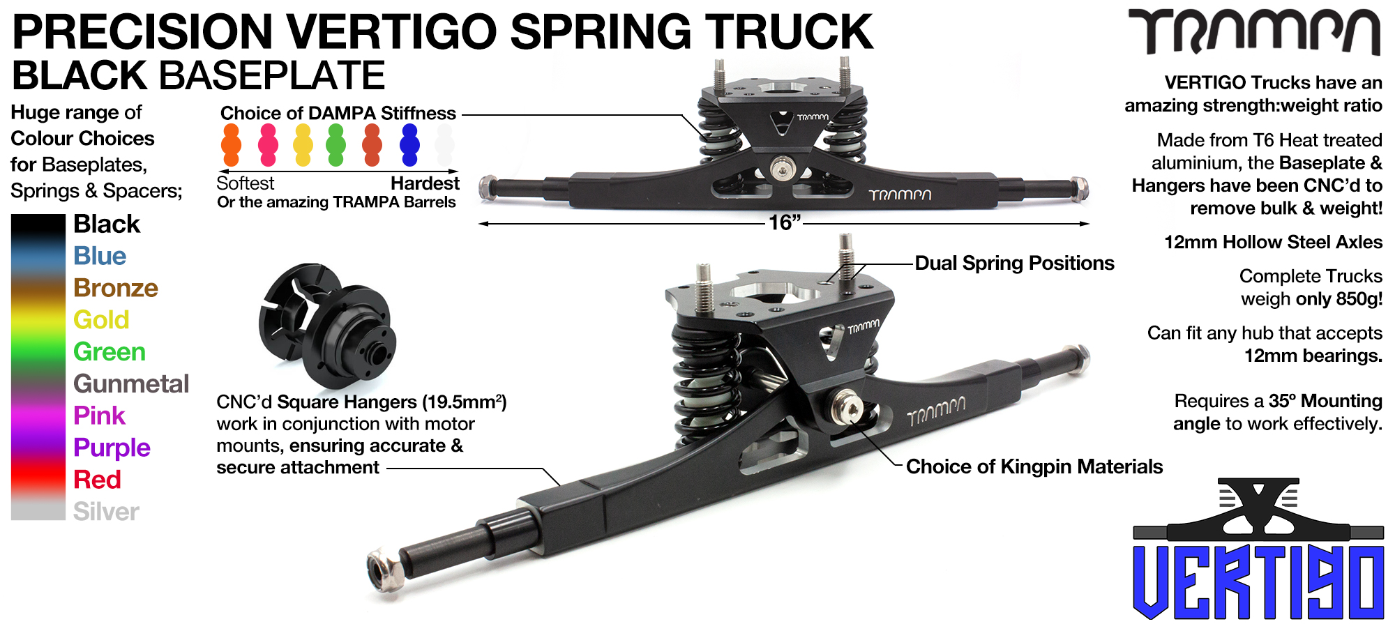 Vertigo Truck - 12mm HOLLOW Axles with Black CNC'd Baseplate & Steel Kingpin TRAMPA Spring Trucks