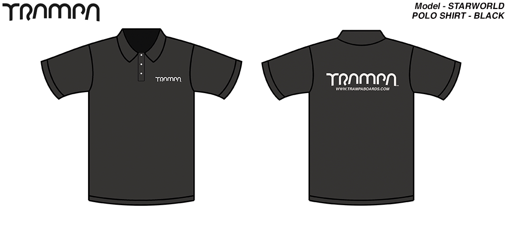 STARWORLD Heavy Duty Polo Shirt - BLACK with SILVER logo