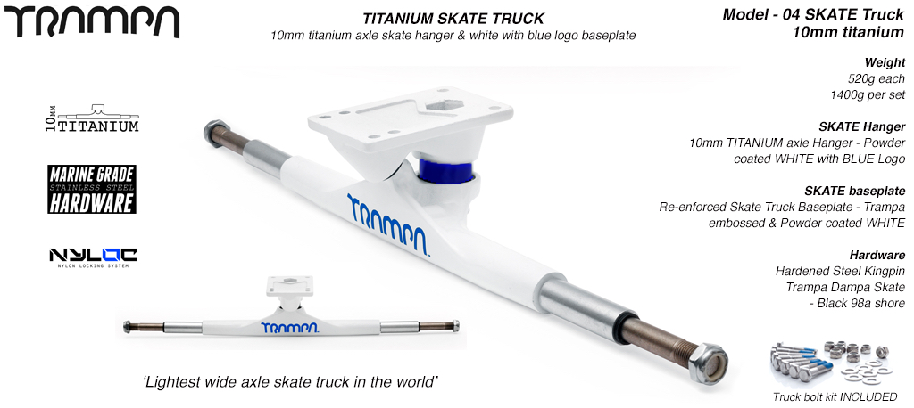 Super light weight TITANIUM Axle Skate Truck - Powder coated White BLUE Logo
