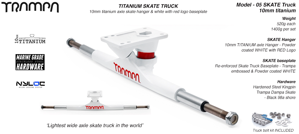 Super light weight TITANIUM Axle Skate Truck - Powder coated White RED Logo