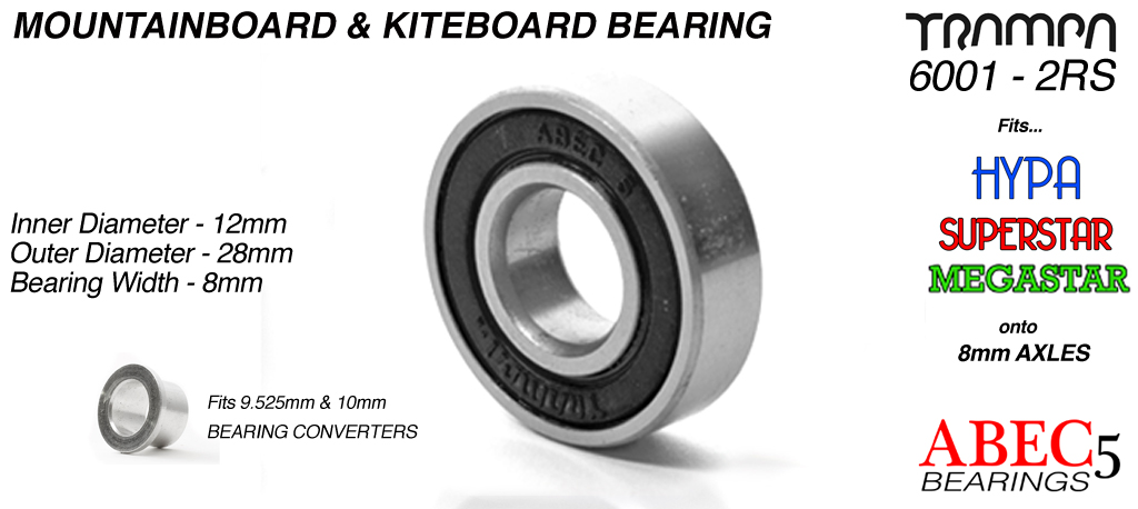 All Terrain Board Bearings (12 x 28 x 8mm) BLACK sidewalls with Embossed Logo ABEC 5 6001 2RS