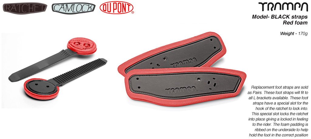 Ratchet Binding Footstrap & Ladder - BLACK straps on RED foam