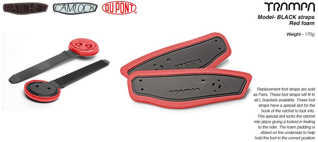 Ratchet Binding Footstrap & Ladder - BLACK straps on RED foam