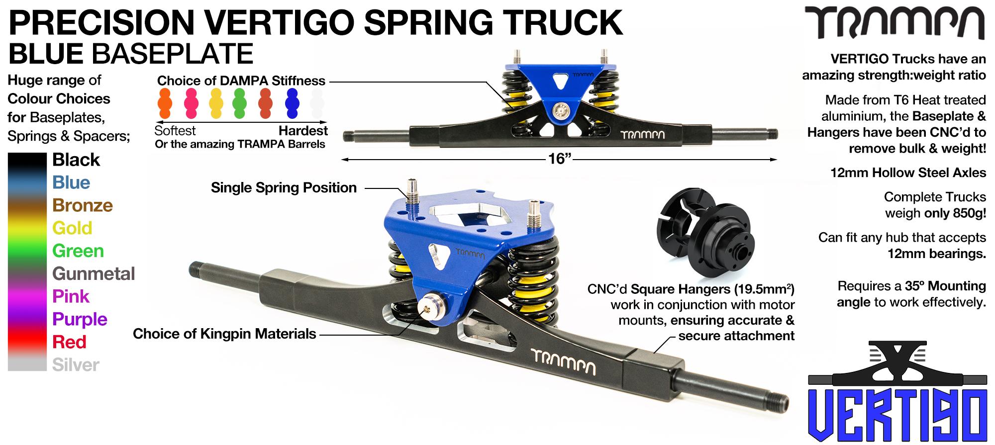 Vertigo Truck - 12mm Hollow Axles with Powder coated Blue CNC Baseplate & Steel kingpin TRAMPA Spring Trucks