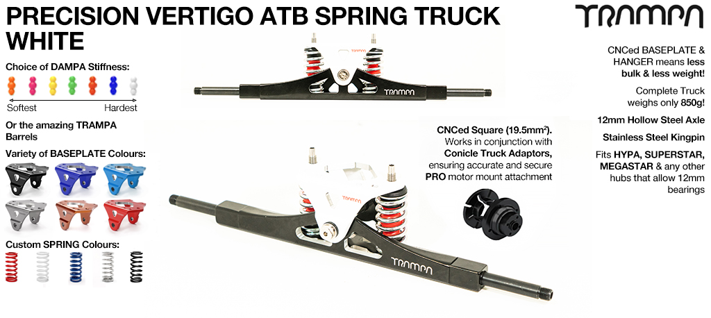Vertigo Truck - 12mm Hollow Axles White Powdercoated CNC baseplate Hardened Steel Kingpin
