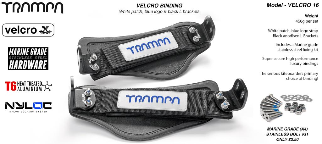 Nylon Hook Bindings - White base with Blue logo Nylon Hook straps with Black L Brackets