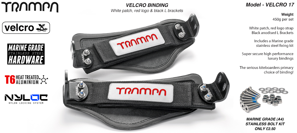Nylon Hook Bindings - White patch with Red logo Nylon Hook straps and Black L Brackets
