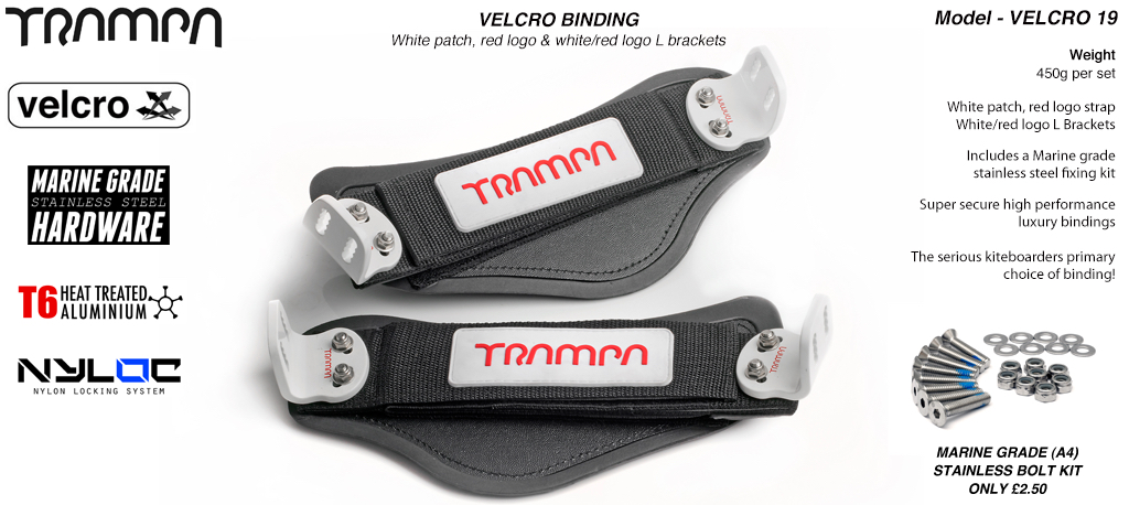 Nylon Hook Bindings - White patch with Red logo Nylon Hook straps White L Brackets