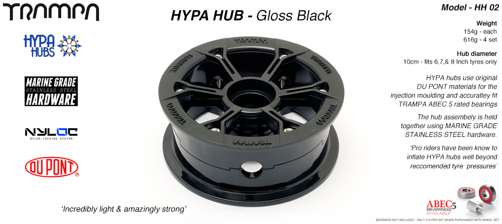 Gloss BLACK HYPA HUB -Including Marine Grade Stainless Steel Nuts & Bolts