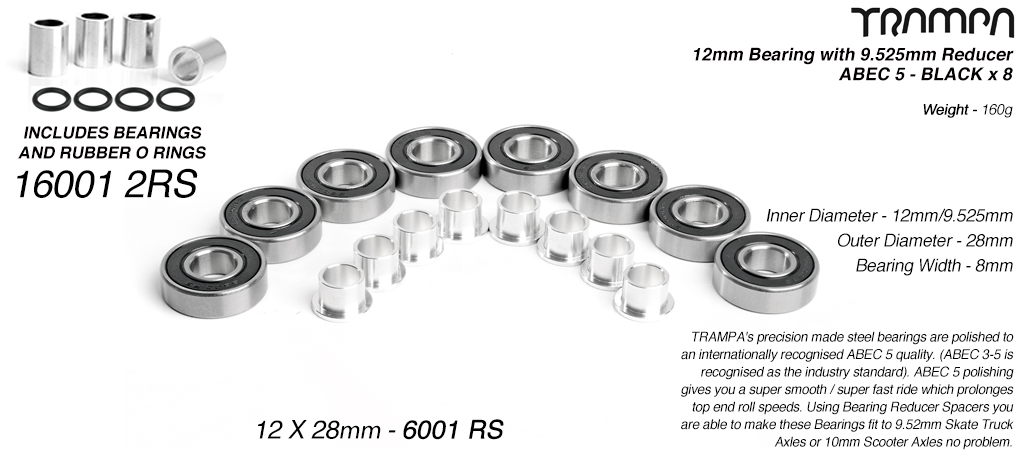 BLACK 12mm ATB Bearings - 12mm x 28mm axle ABEC 5 rated with conversion spacers x 8