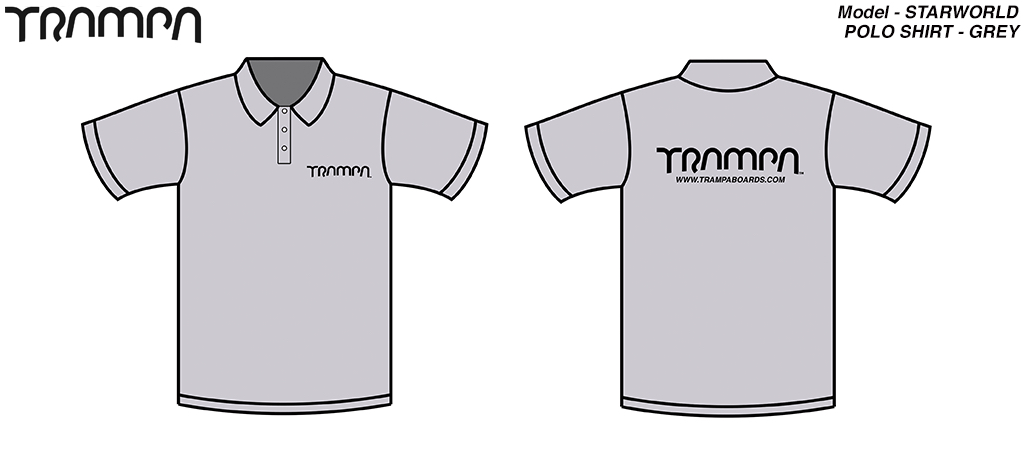 STARWORLD Heavy Duty Polo Shirt - SILVER with BLACK logo
