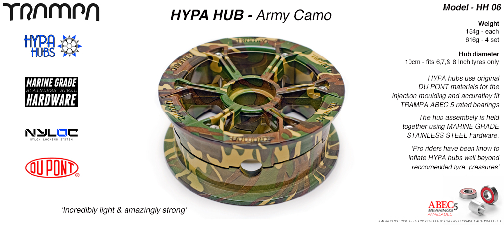 ARMY Camo HYPA HUB - Including Marine Grade Stainless Steel Nuts & Bolts
