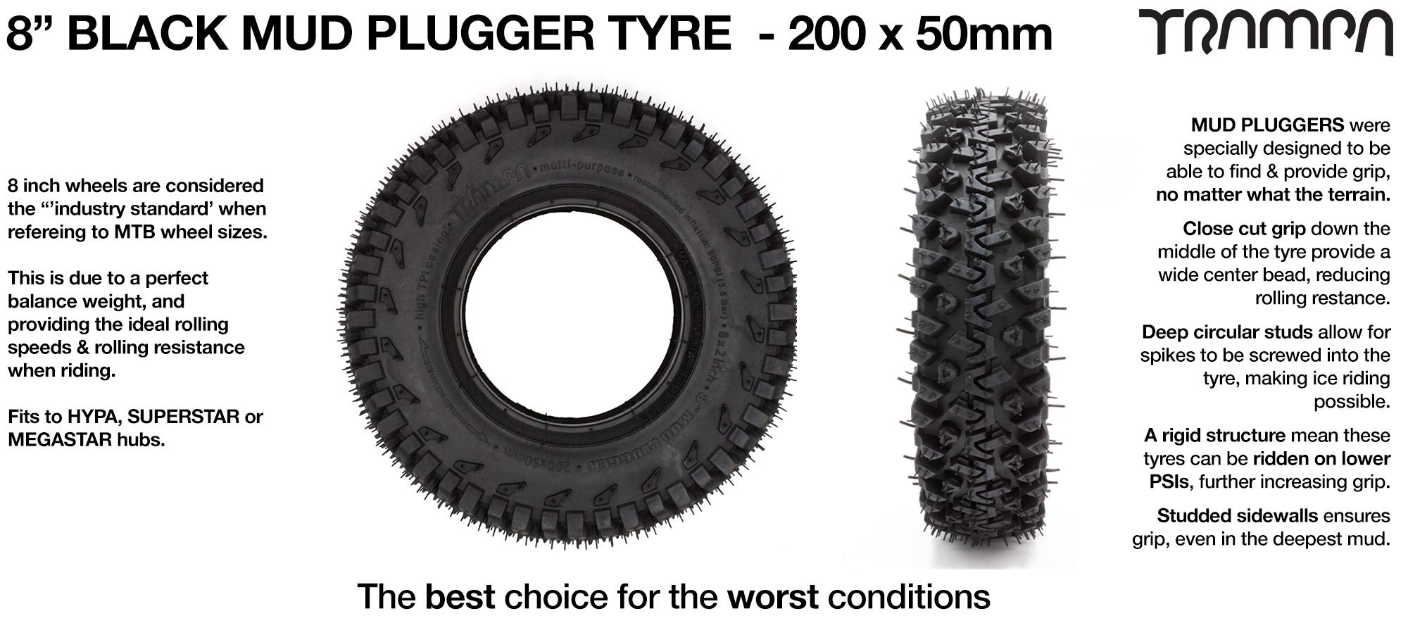 TRAMPA Mudplugger Tyre - BLACK 8 inch