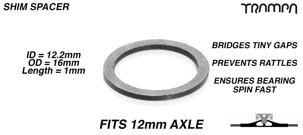 Shim spacer - Bridges the tiny gaps between bearings on 12mm axles - 12 x 16 x 1mm