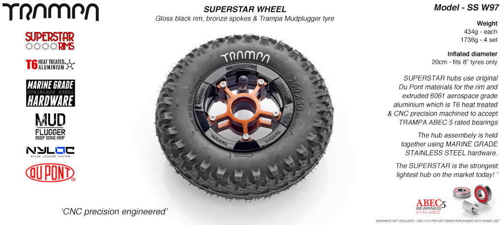 Superstar 8 inch wheel -  Black Gloss Rim Bronze Anodised Spokes & Mud Plugger 8 Inch Tyre