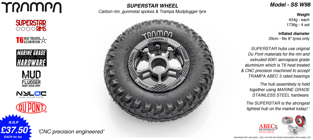 Superstar 8 inch wheels -  Carbon Print Rim Gunmetal Anodised Spokes & Mud Plugger 8 Inch Tyre