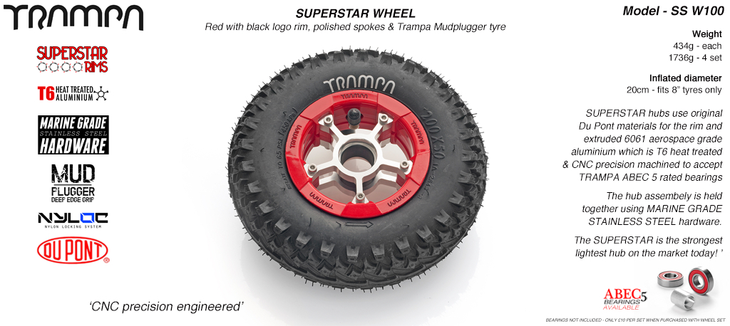 Superstar 8 inch wheels -  Red Gloss & Black Logo Rim Silver anodised Spokes & Mud Plugger 8 Inch Tyre