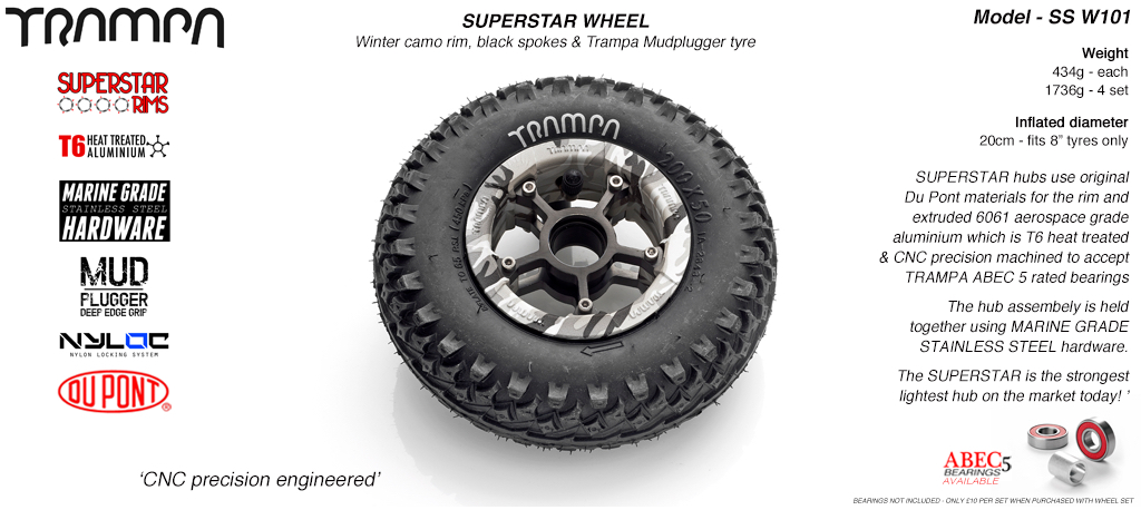 Superstar 8 inch wheels -  Winter Camo Rim Black Spokes & Mud Plugger 8 Inch Tyre