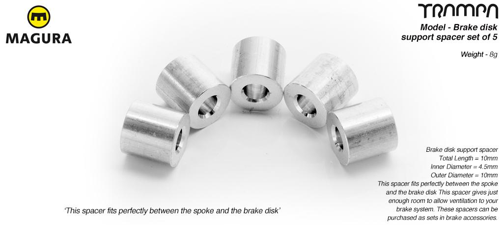 Brake disk to Superstar wheel spacer- for mounting a brake disk to a wheel - set of 5 (1 wheel)