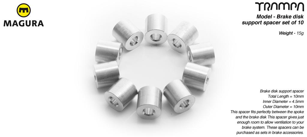 Brake disk to Superstar wheel spacer- for mounting a brake disk to a wheel - set of 10 (2 wheels)