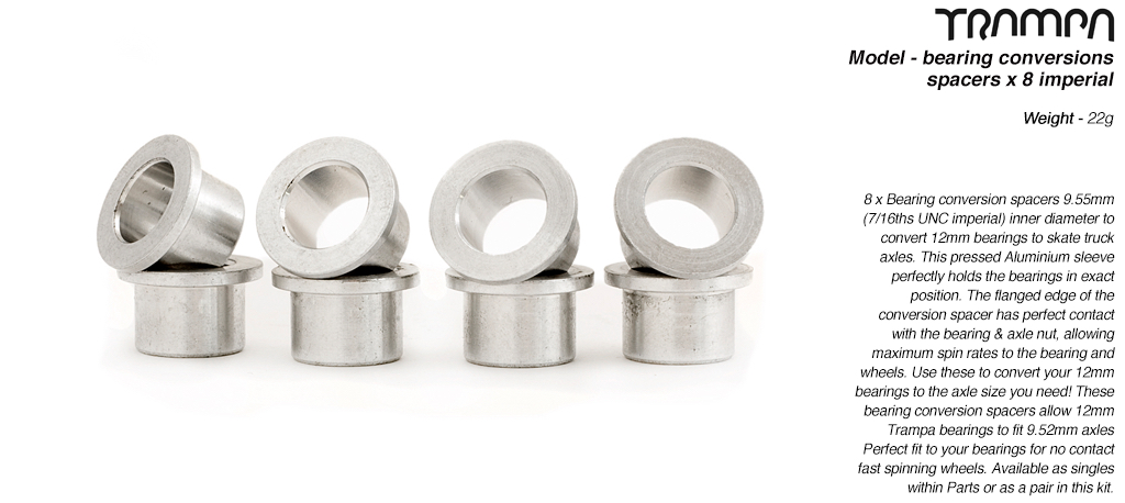 Bearing conversion spacers - fits 12mm Bearings to 9.525mm (3/8ths UNC) Skate axles x 8