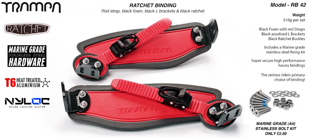 Ratchet Bindings - Red Straps on Black Foam with Black L Brackets & Black Ratchets